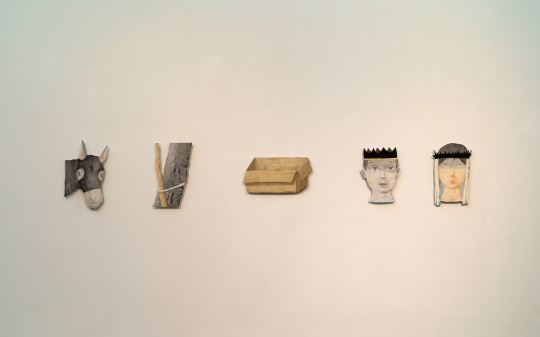 《马》、《树》、《盒》、《王》、《后》 纸浆 铝塑板 水墨上色 2017