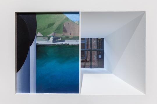 温一沛 《一处地景-No.2》 32×25cm ⽊板丙烯 2017