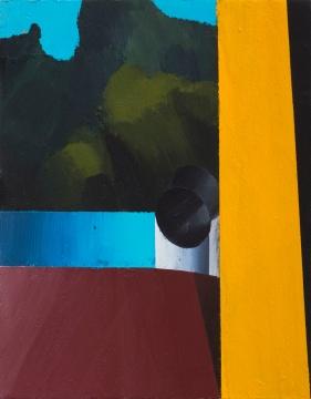 温一沛 《一处地景-No.1》 18×14cm 木板丙烯 2017