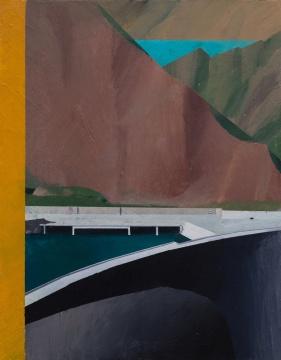 温一沛《一处地景-No.8》 32×25cm ⽊板丙烯 2017