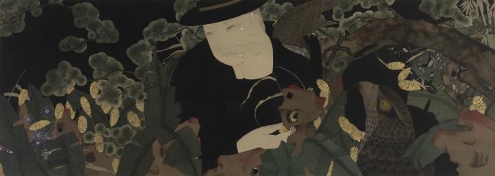 《深·深·深》 59×159cm 绢本设色 2016