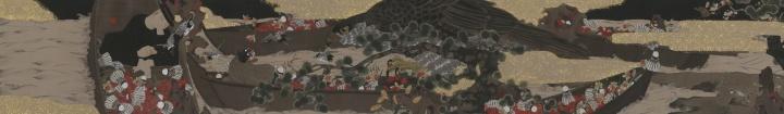 《鸟·袅》 58×389cm 绢本水墨、金箔 2017