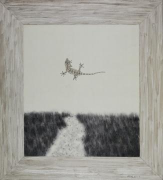 《窗外 天空(2》)58.5×53cm 绢本水墨 2017