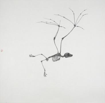 《无法预知的进化(1)》 42×42cm 绢本水墨2017
