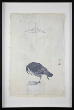 《鸟——与何佶佴的对话》65×45cm 纸本水墨 1999