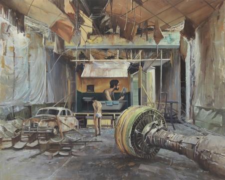 陈朗慕 《荒诞剧》160×200cm布面油画 2017