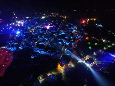 2016年首届中国(隆里)国际新媒体艺术节期间,隆里夜景鸟瞰图