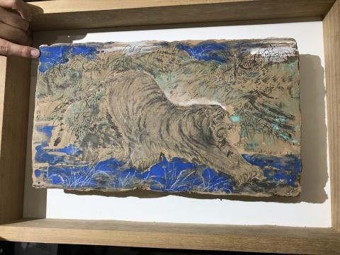 敦煌泥土以及敦煌绘画方式制作的泥版画