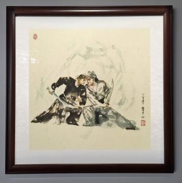李文培 《三岔口》 纸本水墨 60x60cm 2017