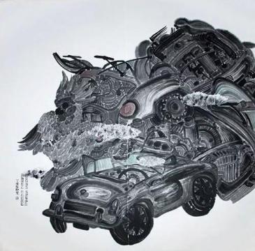 王敏《八段錦4》138×138cm,纸面水墨,2007
