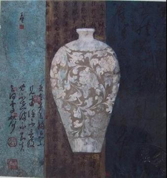 王赞《古瓶 II》69.2×67.8cm,纸面水墨