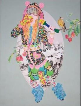 谭变《简简单单 No.3》130×100cm,布面彩铅,2007