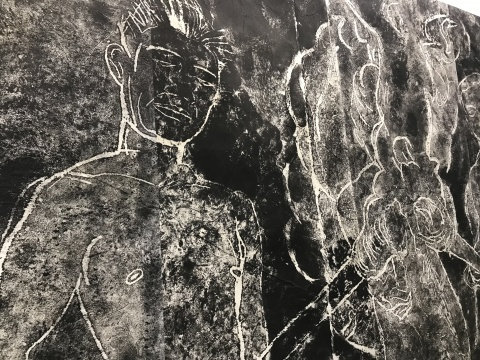 邓大非《三人点火全图》346x248cm废墟拓印 2015