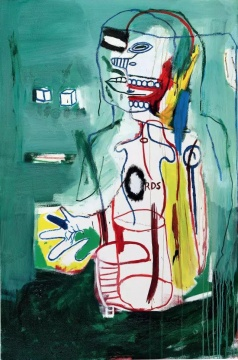 巴斯奎特 《无题》 183×122cm 亚克力油画棒画布 1984估价:3000万-5000万港元李苏桥:如此大尺幅Basquiat作品现身香港拍卖市场的确让人想入非非,这是艺术家创作成熟时期的重要作品之一,作品创作年代的1984年可以说是Basquiat的巅峰年代,从画面上可以看到Basquiat标志性的那些符号、线条、色块和日渐成熟的气质,而且个性十足,与那些市场上达成的所谓共识的标准件相比,这件作品反而因为大胆尝试清新的绿色和隐藏了皇冠等符号而脱颖而出,成为一件罕见的巨作。作品估值3000万-5000万港元合理,与目前二级市场同级作品比略显偏低。林松:这件作品传承清晰,是巴斯奎特巅峰时期的重要作品之一。笔触自由奔放,色彩强烈。巴斯奎特在艺术史的贡献之一是其打破了文化、语言的界限,能从中看到多种流派艺术的混合。这应该是保利香港首次拍欧美当代艺术大师的作品,因此我对这幅作品也很有期待。徐文:巴斯奎特一张很棒的作品,作品中透露出一种少有的柔美,有别于其他作品中常见的粗犷与张扬,这次在香港保利出现,是一张很适合东方藏家风格收藏的作品。