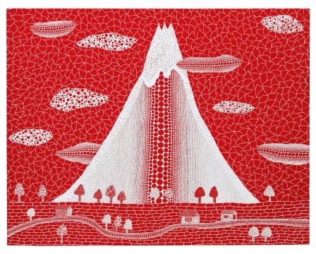 """Lot 188 草间弥生 《富士山(QPWE)》 91×116.7cm 亚克力画布 2005  估价:700万-800万港元    华雨舟:现当代艺术专场中出现的这幅草间的《富士山》是草间弥生少数具体与抽象结合的作品之一,沿袭了他传统的网点式抽象风格配合了她钟爱的富士山的素材,富士山视为大和民族精神和文化象征,早在80年代,草间就数度以""""富士山""""为主题进行创作,但都未有较大尺幅的作品呈现。该作品作为大幅作品出现在人们眼前,着实眼前一亮。画面中云朵房屋树木公路等具体的元素,围绕山体以单一红色为主题,突出山体中间一道火柱,相比众所周知的南瓜系列这是件非常生动有趣且稀有的作品。以铺天盖地的""""网眼""""或""""圆点"""",实践草间弥生无限反复与增生的幻觉艺术。并且此件作品在物与像之间用点和线游离在现实与幻觉之中,掌控着你的视觉,驾驭你的想象力,在这个如日中天的草间时代,相信这件作品会给不少藏家更新鲜的视觉感官。值得收藏。"""