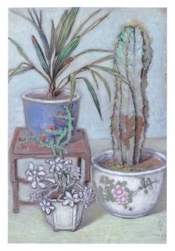 Lot 131李超士 《花瓣豹》 54.5×35.5cm 粉彩纸本 1962  估价:32万-55万港元    林松:李超士的色粉画在整个艺坛独树一帜。本件作品灰绿色的基调画面非常典雅、宁静,充满着浓厚的人文气息。由于李超士大量的作品都是纸上色粉创作,没有太大的作品,因此他一直是处于被市场忽略的地位。      推荐作品十三:周碧初《百合花》——千金难求,极其罕见