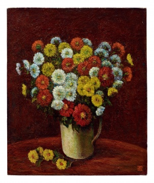 Lot 141 余本《菊花》 60.8×50.9cm 油彩画布 1952  估价:18万-26万港元    伍劲:这件作品非常吸引人,完整、干净、单纯,是50年代的气质。余本作为第一代画家,但如此价格与其丰厚的资历并不匹配。      推荐作品十六:胡善余《静物》——第一代中国艺术家拥有的独特气质
