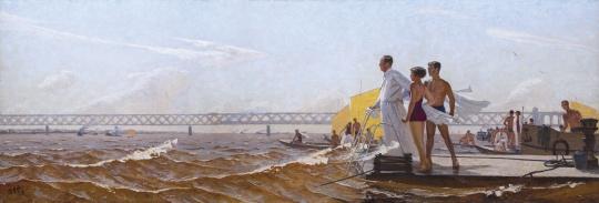 《万里长江横渡》 130x390cm  布面油画  1959年1959年年度优秀作品,建国十周年献礼作品