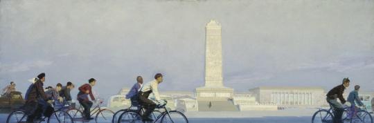 《晨》 101×301cm 布面油画  1961年 中央美术学院美术馆藏