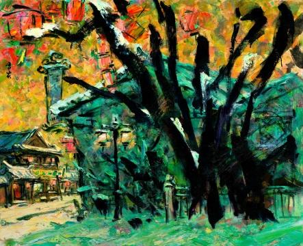 《正月雪系列--街头巷尾》 65X80cm  布面油画2015年李秀实与墨骨油画台湾巡展