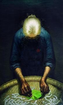 罗中立 《春蚕》220x148cm 布面油彩 1980年