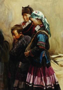 高小华《人物》52×37cm 纸板油彩 1990年