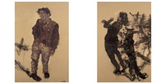 周春芽《黑根一家—男主人和女主人(2幅)》190×260cm布面油彩 1995年