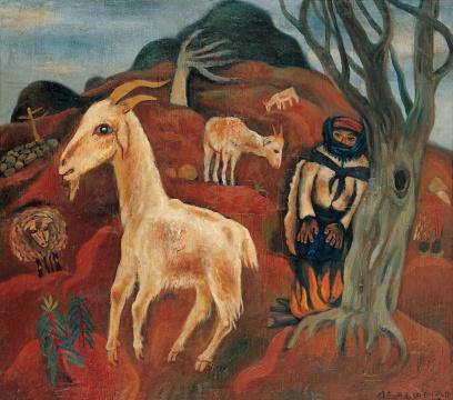 毛旭辉《圭山组画——山羊》84×95cm布面油彩1986年