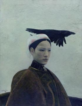 何多苓《乌鸦是美丽的》89.9x70cm布面油彩 1988年