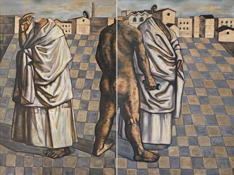 张小涛《没有头颅的行走(双联画)》180×120cm×2布面油彩1995年