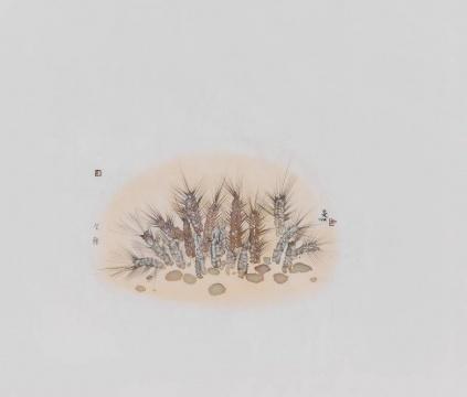 《二十四节气---芒种》 55×65cm 绢本水墨2017