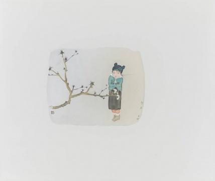 《二十四节气---冬至》 55×65cm 绢本水墨2017