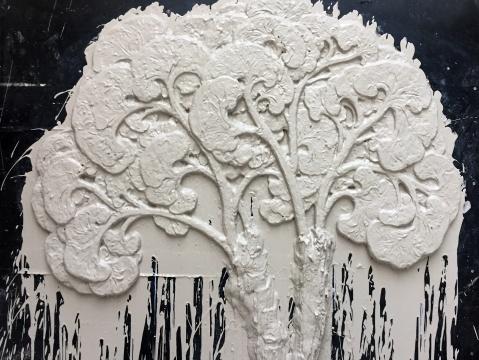 陈科《无树》尺寸可变 石膏、木