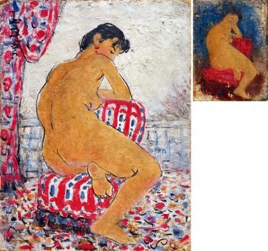Lot 757 潘玉良《窗前裸女》(双面画) 油彩画板 1958  估价:300万-500万元    谢晓冬:这张完成于1958年的《窗前裸女》,是潘玉良二度赴法后的作品,是其创作上高度成熟并广受认可的时期,作品笔调明快,用色丰富,人物线条流畅生动。二十世纪中国人物画,潘玉良绝对是一座被低估的高峰。此作性价比高,值得入手。