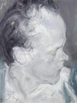 """Lot 824 毛焰 《托马斯侧像》 35×26.5cm 油彩画布 2006  估价:35万-45万元    徐文:画面人物情绪较平和,绘画语言刻画的极具深度,是同时期小幅肖像经典之作,毛焰的绘画数量不多,""""托马斯系列""""又是他的代表作系列,而且现在已经不再画托马斯了,起拍价格也十分的合理,相信众多毛焰的粉丝们会让这件作品去到一个很不错的藏家手里。"""
