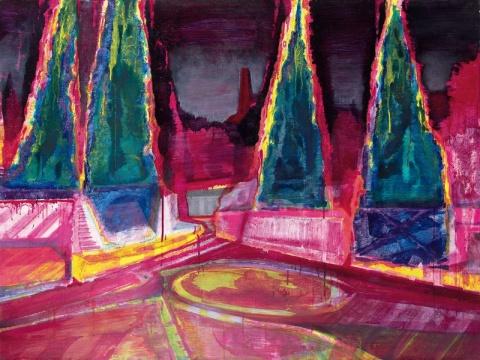 Lot 778 黄宇兴 《陷阱》 150×200cm 油彩亚克力彩画布 2012  估价:28万-38万港元    华雨舟:该作画面表现主义风格明显,体现出由具象向抽象发展的痕迹;色彩结合了早期的阴暗灰色和近期的萤光色,给人以强烈的视觉冲击与情感体验。在黄宇兴近年炙手可热、艺术生涯的不同风格也被整体认同的语境下,这幅经历三次艺术家个展的《陷阱》的学术重要性和市场期待值不言而喻。