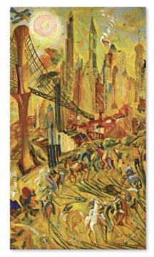 TOP1 朱沅芷 《工业之轮在纽约》214×122cm油画画布 1932  成交价: 1.05亿港元,刷新艺术家个人拍卖纪录(估价:8000万-1.2亿港元)