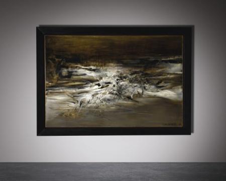 TOP3 赵无极 《09.01.63》 130×195cm 油画画布 1963  成交价: 7603.75万港元(估价:5000万-8000万港元)