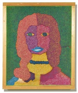 TOP6 草间弥生 《雪莉·麦克琳》 119 x 99 cm 油画画布 艺术家原装画框 (彩色铁丝) 1970  成交价: 2991.25万港元(估价:1800万-2500万港元)