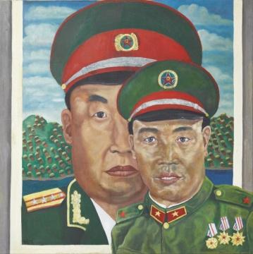 TOP9 刘炜 《革命家庭系列》 100×100.5cm 油画画布 画框 1991  成交价: 1510万港元(估价:1000万-1500万港元)