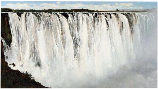 TOP2 吴冠中 《坦桑尼亚大瀑布》 100.3×179.6cm 油彩画布 1975  成交价:5369万港元(估价:3600万-5600万港元)