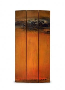 TOP2 赵无极 《16.04.62》 (三联作) 90×44cm 油彩 木板 1962  成交价:1165万港元(估价:500万-800万港元,二十世纪及当代艺术专场)
