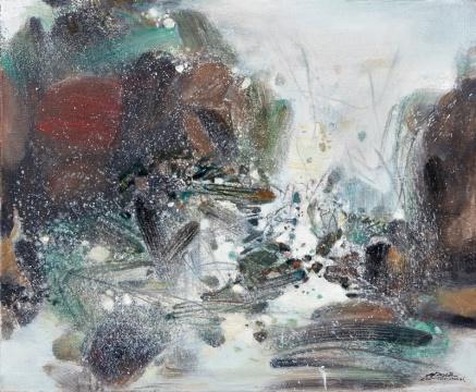 TOP3 朱德群 《冬之圆舞曲》 60×73cm 油彩画布 1986  成交价:797万港元(估价:650万-800万港元,二十世纪及当代艺术专场)