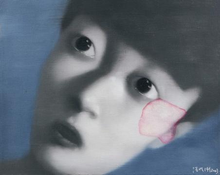 张晓刚 《失忆与记忆第二号》40×50cm 油彩画布 2003  成交价:141.6万港元(估价:120万-150万港元,少励家族藏中国当代艺术专场)