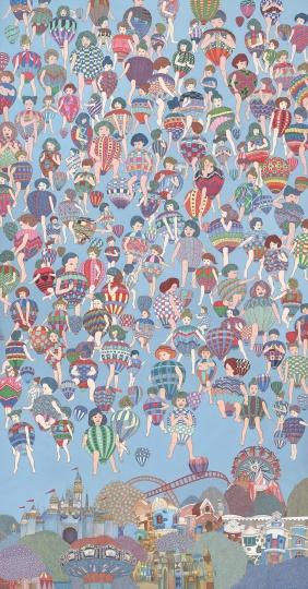 刘天怜 《想象中的游乐场》 240×120cm 纸本设色 2017  RMB:17.5万元