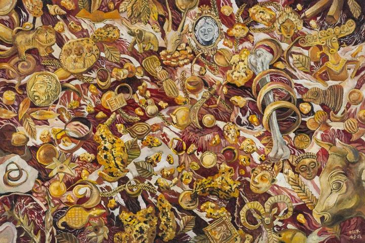 肉池 2016 布面油画 60×90cm   非洲有许多国家盛产黄金,如加纳,这两张作品正是与此相关:原始的淘金现场和已被加工成首饰的金子并置呈现,而红色的肉与夺目的金子之间又产生了刺激的视觉效果