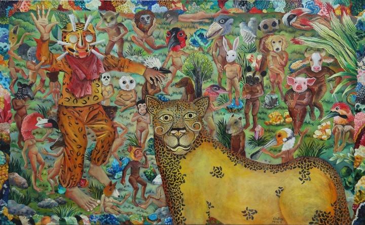 美洲豹在达尔文岛 2014 布面油画 100×160cm