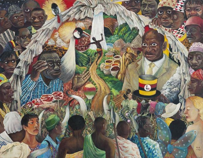 远方的乌干达 2016 布面油画 114×146cm  刘冰一位乌干达的朋友发给她了一段乌干达大选的视频。这张作品中的人物形象,均出自视频里的人