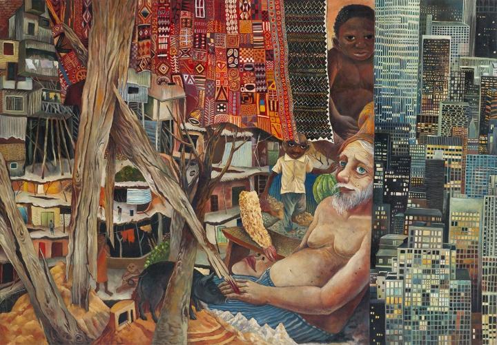 贫民窟没有百万富翁也没有悲惨饥荒 2015 布面油画 125×180cm