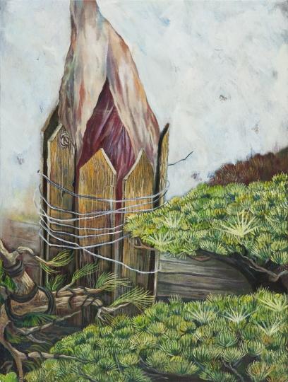 盆栽和火腿 2017 布面油画 80×60cm